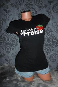 příjemné dámsképrodloužené černé tričko triko s potiskem XS/S