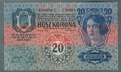 20 korun 1913 serie 2341 bez přetisku