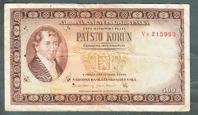 500 kčs 1946 DVĚ PÍSMENA VZÁCNÁ