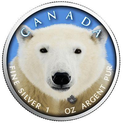 Kanada, 1 unce 2019, Ag 999,9 Lední medvěd, raženo pouze 500 kusů