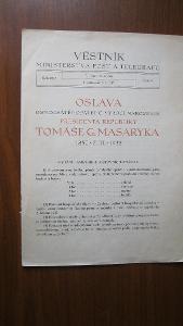 ČSR - Věstník ministerstva pošt a telegrafů č. 9 - Oslava TGM