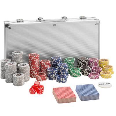 tectake 402557 pokerová sada vč. hliníkového kufru - stříbrná, 300 díl