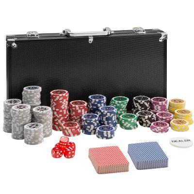 tectake 402558 pokerová sada vč. hliníkového kufru - černá, 300 dílů