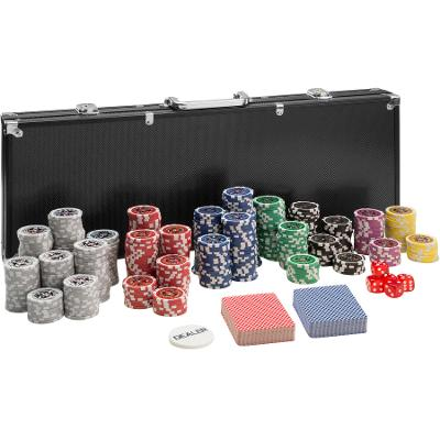 tectake 402560 pokerová sada vč. hliníkového kufru - černá, 500 dílů