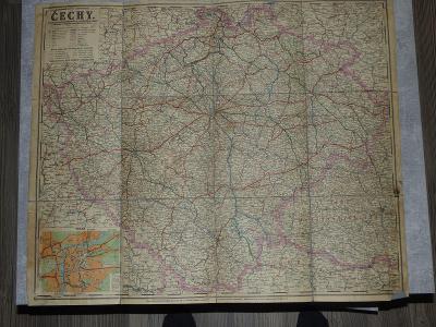 Čechy-mapa na plátně, ještě patrně za Franze Josefa, stav-foto