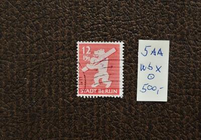 NĚMECKO ZÓNA BERLIN 1945 CENNÝ PAPÍR 5 AA wbx RAZÍTK. KAT. 500 EUR