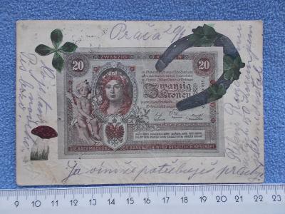 Pohlednice Pro štětí Bankovka 20 korun muchomůrka čtyřlístek Bosna