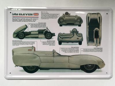 2.jakost - nová plechová retro cedule Lotus Eleven  30x20