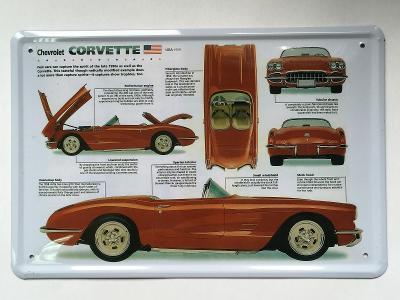 nová plechová retro cedule Chevrolet Corvette 20x30cm
