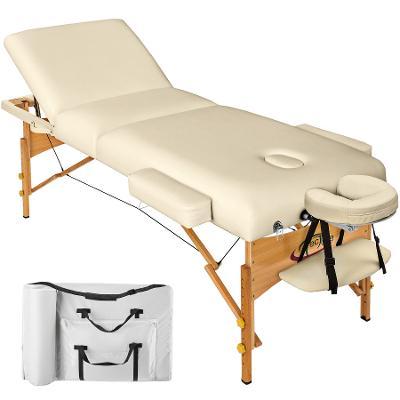 tectake 400185 skládací masážní lehátko dřevěné 3 zóny, 10 cm polstrov