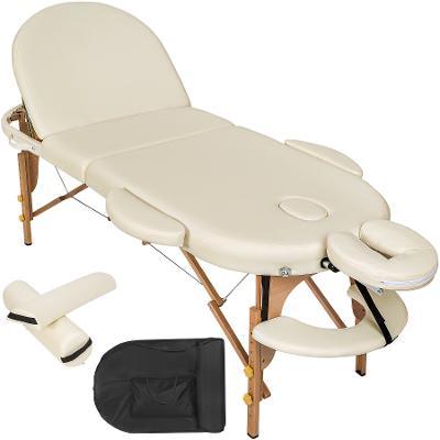 tectake 400193 skládací masážní lehátko dřevěné oválné - béžová