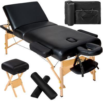 tectake 400278 skládací masážní lehátko dřevěné 3 zóny, 10 cm polstrov