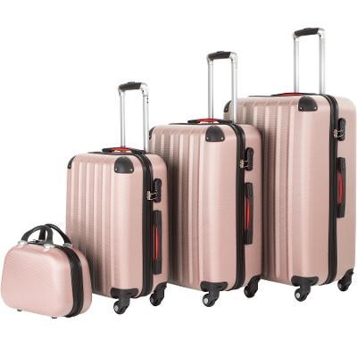 tectake 403409 cestovní kufry pucci – sada 4 ks - růžová - zlatá