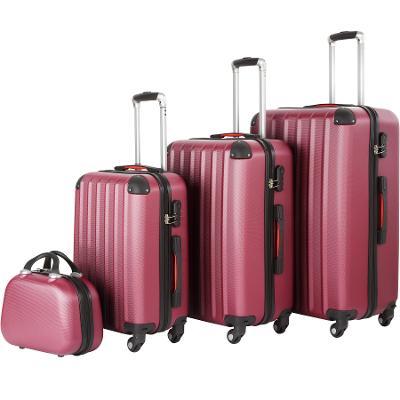 tectake 403410 cestovní kufry pucci – sada 4 ks - vínová