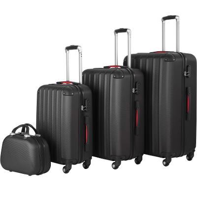 tectake 403412 cestovní kufry pucci – sada 4 ks - černá