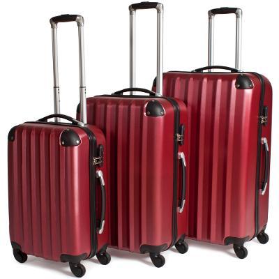 tectake 400718 sada 3 pevných cestovních kufrů - červená