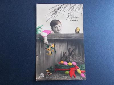 Pohlednice velikonoce králík kraslice kolorované foto Amag