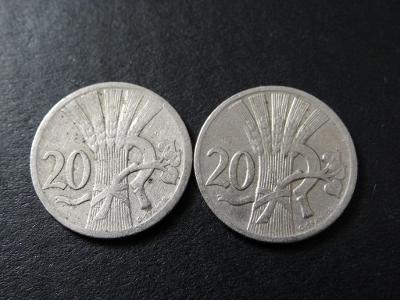 2x 20 haléř 1924, 1927.