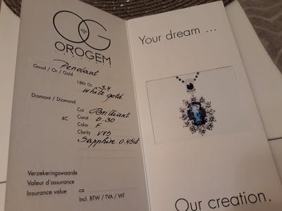 Zlatý řetízek náhrdelník s přívěškem s brilianty a modrým safírem