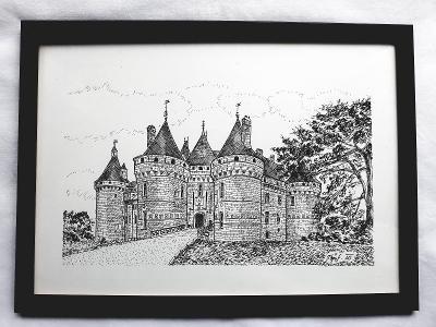 Chaumont - zámek na Loiře (Francie) - perokresba