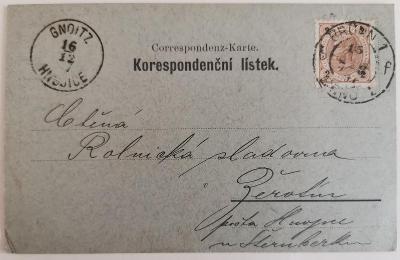 Korespondenční lístek 1897 Brno s výplatní známkou 2 kreuzer