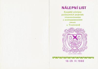 ČSSR - Nálepní dvoulist ke Krajské výstavě známek v Trutnově - 1988