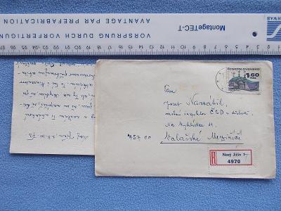 Celistvost dopis obálka R nálepka Nový Jičín  Inspektor dráha železnic