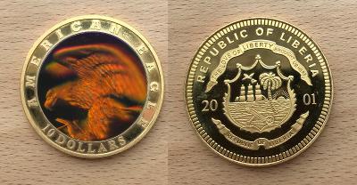 10 Dollars 2002 American Eagle (Libérie) Multicolor-Hologram