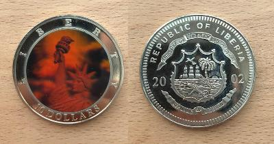 10 Dollars 2002 Statue of Liberty (Libérie) Multicolor-Hologram