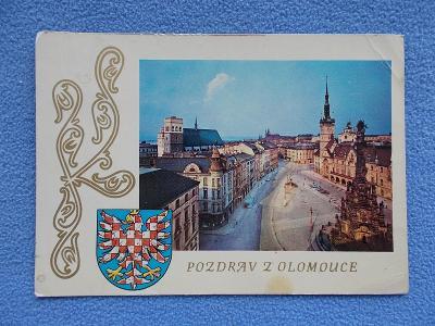 Olomouc socha sv. Trojice a radnice koláž erb znak orlice  1973