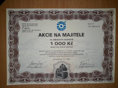AKCIE MITOP a.s. 1.000,-Kč velikost A5