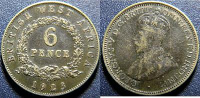 Britská západní Afrika 6 Pence 1923H R XF č33430