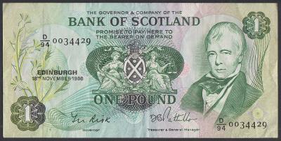 Skotsko / Scotland - 1 Libra - Bank of Scotland - 1986