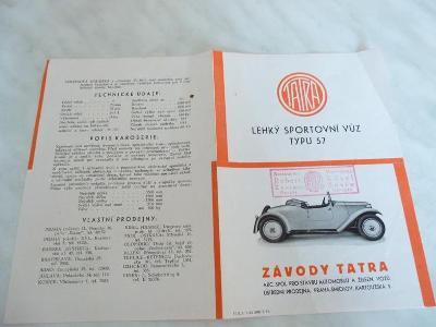 Tatra typ 57 - katalog - prospekt - propagační materiál