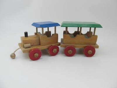 Retro stará hračka Dřevěný vláček Mašinka vagon značeno cca 70 leta