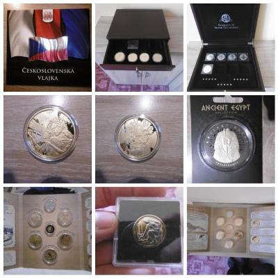 Velká sbírka mincí, medailí ( zlaté, stříbrné a pozlacené )