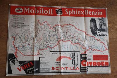 Vydáno 1934 Mapa Mobiloil motor oil BATA Scintilla Citroen 81 x 56 cm