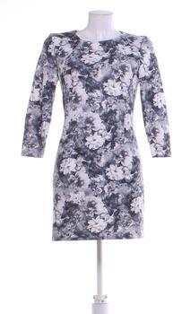 Dámské šaty ZARA s květinami šedé