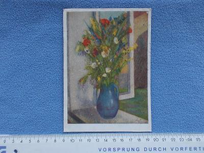 Pohlednice přání květy kytice polní kvítí malíř Paur