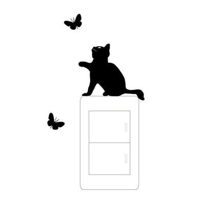 """Dekorativní folie na okno, zeď, dveře """"Kočka s motýli"""""""