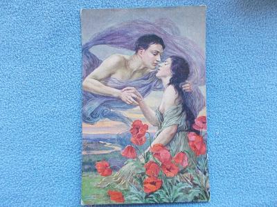 Umělecká pohlednice Když večer se sklání vlčí máky láska