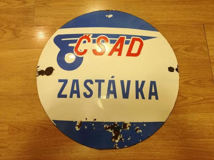 ČSAD zastávka smaltovaná cedule - označník - Motoristické předměty