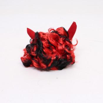 Čertovská paruka s rohy černo-červená MFP