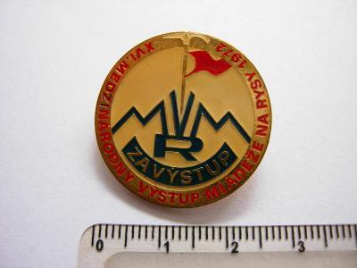 Odznak - Za výstup mládeže na rysy 1972 - číslovaný