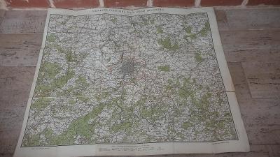 Stará mapa Podrobného okolí Pražského z roku cca 1930