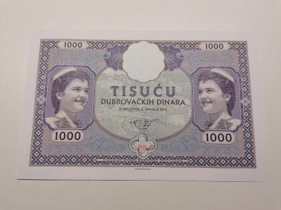 1000 dinárů, A. 01 000408, Dubrovník, stav N