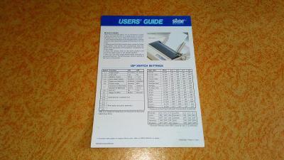 Karta s návodem k tiskárně Star LC24-10
