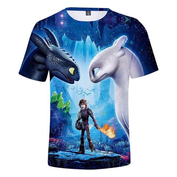 Jak vycvičit draka - dětské tričko s 3D potiskem, různé velikosti - Oblečení