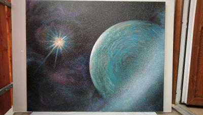 Obraz - Uran v mlhovině, 100x80cm, akryl na plátně