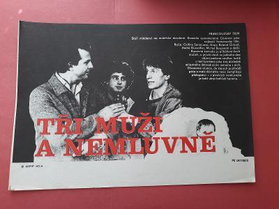 Tři muži a nemluvně - filmový plakát 29 x 20,7 cm
